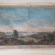 Arte: ANTIGUO GRABADO: VISTA SUROESTE DE LA CIUDAD DE NUEVA YORK - CARINGTON BOWLES- 1763. Lote 133102042