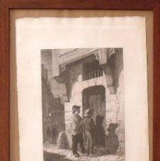 Arte: ARMAND QUEYROY. AGUAFUERTE CHANTEURS DE NOËL (BOURBONNAIS). 1864. PUBLIÉ CADART & LUQUET.. Lote 133419970