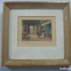 Arte: PRECIOSO GRABADO A COLOR EN MADERA ESCUELA FLAMENCA,POR JAN DER BORGHT VEN (XVIII) ALREDEDOR DE 1790. Lote 133569590