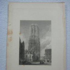Arte: -CATHEDRAL MALINES- BELGICA-ORIGINAL GRABADO AL ACERO POR J.LE KEUX ALREDEDOR DE 1840. Lote 133749794