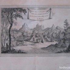 Arte: CAMPAMENTO EUROPEO EN LA ISLA JUAN FERNÁNDEZ (CHILE, AMÉRICA DEL SUR), 1754. N. BELLIN/ A. PREVOST. Lote 133772198