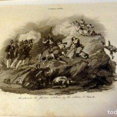 Arte: PRIMERA GUERRA CARLISTA. FACCIOSOS CATALANES EN CABRILS, BARCELONA. CARLISMO. 1842. GRABADO AL ACERO. Lote 133800514