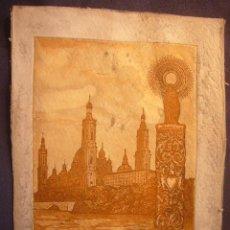 Arte: ISABEL DOBATO: - EL PILAR DE ZARAGOZA (GRABADO FIRMADO Y NUMERADO) - (DIMENSIONES: 20X15 CM). Lote 133822154