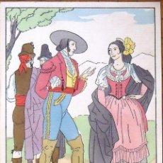 Arte: JOAN D'IVORI. GRABADO COLOREADO A MANO TRAJES REGIONALES. 27X21 CM. VESTIDOS TÍPICOS. 1930.. Lote 134025274