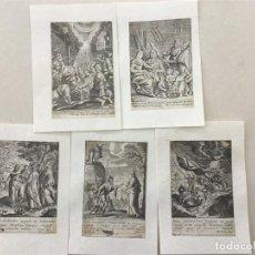 Arte: LOTE DE 5 GRABADOS AL COBRE EN PAPEL HECHO A MANO TODOS RELIGIOSOS ALREDEDOR DE 1640. Lote 134152326