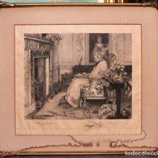 Arte: WALTER DENDY SADLER (1854-1923), GRABADO DE 1898. ENMARCADO, 61X53CM. Lote 134173458