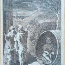 Arte: GRABADO AL ACERO S. XVII/XVIII, DIÓGENES EN UN TONEL. Lote 134179606