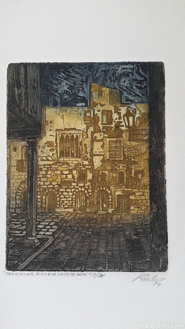 GRABADO DE MARIANO RUBIO MARTÍNEZ. CALATAYUD 1926 PLAZA DE LA CATEDRAL DE TARRAGONA (Arte - Grabados - Contemporáneos siglo XX)