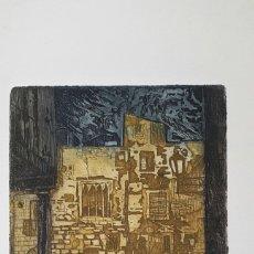 Arte: GRABADO DE MARIANO RUBIO MARTÍNEZ. CALATAYUD 1926 PLAZA DE LA CATEDRAL DE TARRAGONA. Lote 134224897