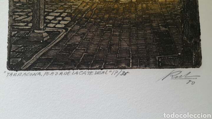 Arte: GRABADO DE MARIANO RUBIO MARTÍNEZ. CALATAYUD 1926 PLAZA DE LA CATEDRAL DE TARRAGONA - Foto 2 - 134224897
