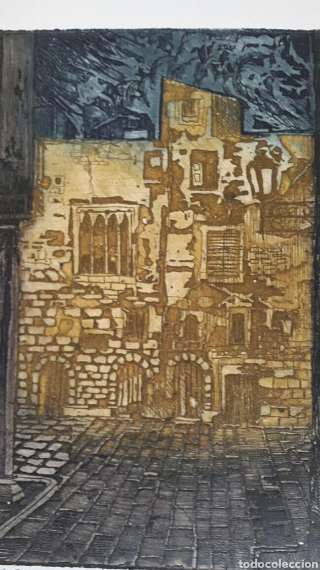 Arte: GRABADO DE MARIANO RUBIO MARTÍNEZ. CALATAYUD 1926 PLAZA DE LA CATEDRAL DE TARRAGONA - Foto 3 - 134224897
