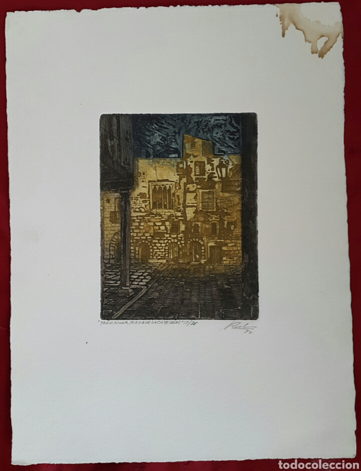 Arte: GRABADO DE MARIANO RUBIO MARTÍNEZ. CALATAYUD 1926 PLAZA DE LA CATEDRAL DE TARRAGONA - Foto 4 - 134224897