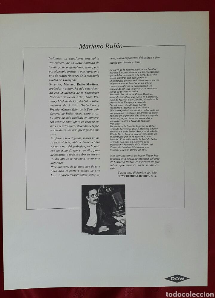 Arte: GRABADO DE MARIANO RUBIO MARTÍNEZ. CALATAYUD 1926 PLAZA DE LA CATEDRAL DE TARRAGONA - Foto 5 - 134224897