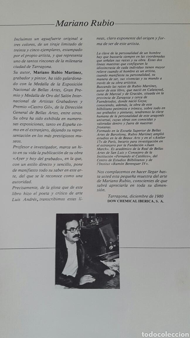 Arte: GRABADO DE MARIANO RUBIO MARTÍNEZ. CALATAYUD 1926 PLAZA DE LA CATEDRAL DE TARRAGONA - Foto 6 - 134224897