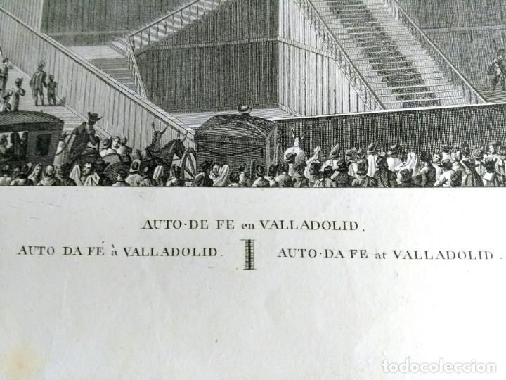 Arte: Grabado antiguo Valladolid auto de Fe Año 1808 con certif. autent. Grabados antiguos Valladolid - Foto 3 - 134538094