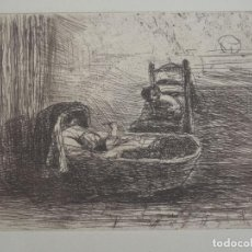 Arte: PRECIOSO GRABADO EN AGUAFUERTE DE JOZEF ISRAELS (1824-1911) EL NIÑO EN LA CUNA DE 1880, CERTIFICADO. Lote 134778030