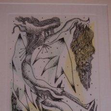 Arte: RAFAEL ALBERTI. GRABADO DE 30X 20 (HUELLA) CON MARCO 44X 54 FIRMADO A LÁPIZ P/A AÑO 1977.. Lote 134845998