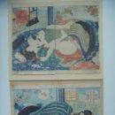 Arte: ORIGINAL EROTIC SHUNGA TWO PRINTS UTAGAWA KUNIMORI II -IROASOBI RYOKOKE MIYAGE-EROTIC ART JAPAN 1850. Lote 135603418