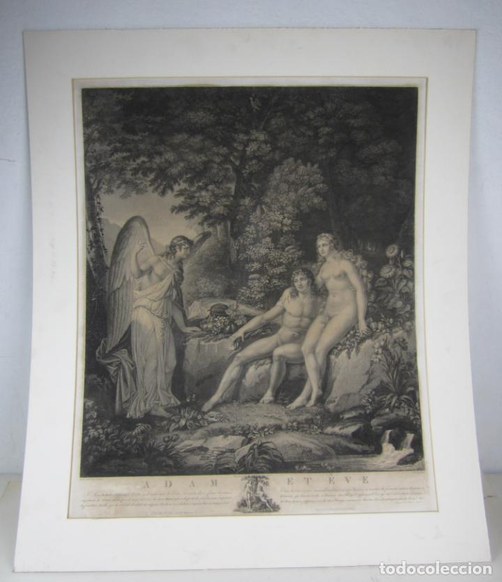 J. F. CAZENAVE, GRABADO ADÁN Y EVA, SIGLO XIX. 66,5X78CM (Arte - Grabados - Modernos siglo XIX)