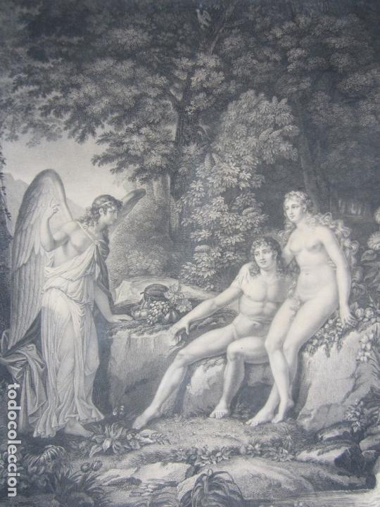 Arte: J. F. Cazenave, grabado Adán y Eva, siglo XIX. 66,5x78cm - Foto 2 - 135669071