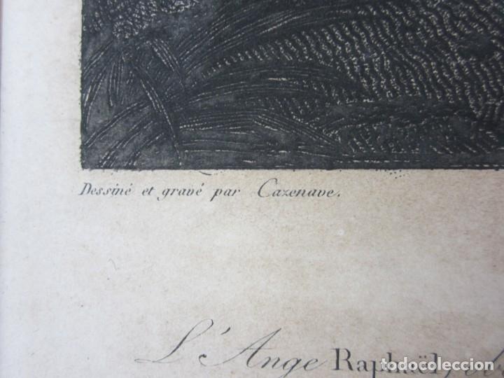 Arte: J. F. Cazenave, grabado Adán y Eva, siglo XIX. 66,5x78cm - Foto 3 - 135669071