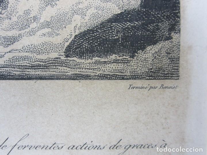Arte: J. F. Cazenave, grabado Adán y Eva, siglo XIX. 66,5x78cm - Foto 4 - 135669071