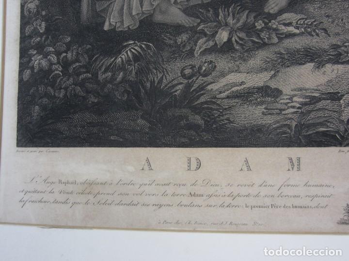 Arte: J. F. Cazenave, grabado Adán y Eva, siglo XIX. 66,5x78cm - Foto 5 - 135669071