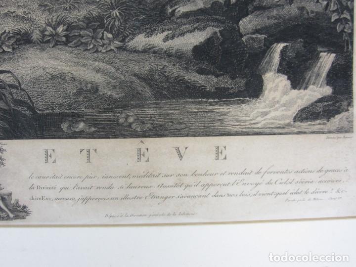 Arte: J. F. Cazenave, grabado Adán y Eva, siglo XIX. 66,5x78cm - Foto 6 - 135669071