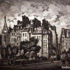 Arte: PEDRO FLORES (MURCIA 1897 - PARÍS 1967) GRABADO FIRMADO A MANO. PRUEBA DE ARTISTA. VISTA PARISINA. Lote 135674883
