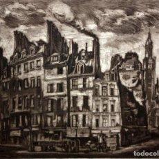 Arte: PEDRO FLORES (MURCIA 1897 - PARÍS 1967) GRABADO FIRMADO A MANO. PRUEBA DE ARTISTA. VISTA PARISINA. Lote 135675223