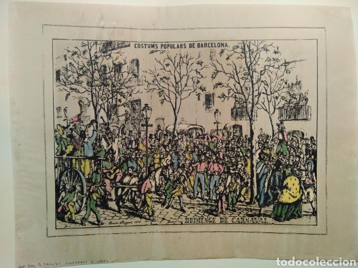 Arte: LOTE DE 9 GRABADOS BARCELONA SIGLO XIX .ALGUNOS FIRMADOS Y COLOREADOS A MANO - Foto 6 - 135713459