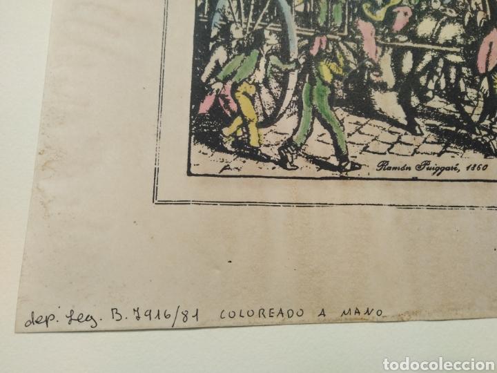 Arte: LOTE DE 9 GRABADOS BARCELONA SIGLO XIX .ALGUNOS FIRMADOS Y COLOREADOS A MANO - Foto 7 - 135713459