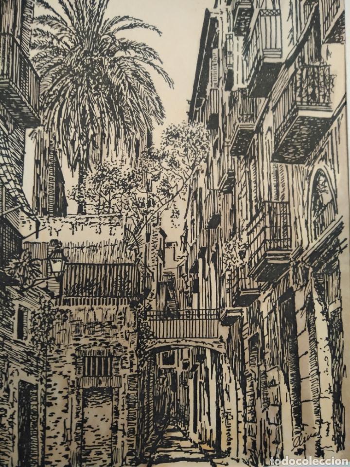 Arte: LOTE DE 9 GRABADOS BARCELONA SIGLO XIX .ALGUNOS FIRMADOS Y COLOREADOS A MANO - Foto 19 - 135713459