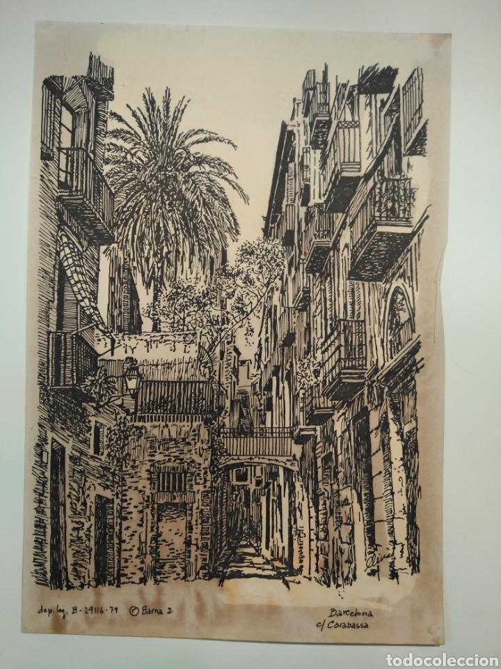 Arte: LOTE DE 9 GRABADOS BARCELONA SIGLO XIX .ALGUNOS FIRMADOS Y COLOREADOS A MANO - Foto 20 - 135713459