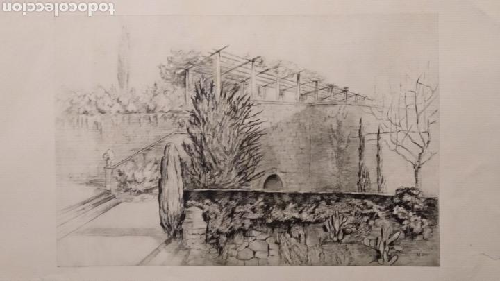 GRABADO O LITOGRAFÍA DE 1928 FIRMADA POR EL AUTOR - MONTJUIC BARCELONA M. OLLER? (Arte - Grabados - Contemporáneos siglo XX)