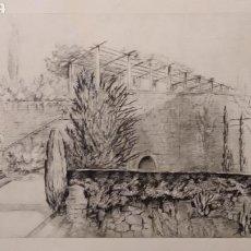 Art - Grabado o litografía de 1928 firmada por el autor - Montjuic Barcelona M. Oller? - 135747111