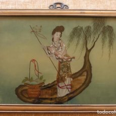 Arte: LADY IN A BOAT REVERSE PAINTED GLASS PANEL, MODERN, 35 X 50 CM., FRAMED, GLAZED. Lote 135792158