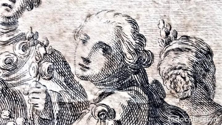 Arte: GRABADO ORIGINAL,SIG.XVIII,AÑO 1764, REY CARLOS III EN BARCELONA,MASCARA REAL,DE FRANCISCO TRAMULLAS - Foto 3 - 126116827
