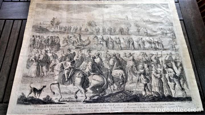 Arte: GRABADO ORIGINAL,SIG.XVIII,AÑO 1764, REY CARLOS III EN BARCELONA,MASCARA REAL,DE FRANCISCO TRAMULLAS - Foto 2 - 126116827
