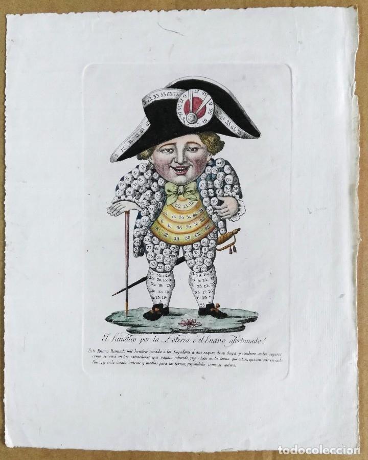 Arte: Grabado antiguo. Lotería primitiva. El enano afortunado. Filigrana del siglo XVIII. Jan Kool - Foto 2 - 136284390