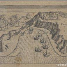 Arte: VISTA DE PRAIA EN LA ISLA DE SANTIAGO (ISLAS DE CABO VERDE, ÁFRICA), 1600. DE BRY. Lote 136413522
