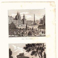 Arte: GRABADOS ROMA. PIAZZA NAVONE Y CASINO DI RAFFAELE.. Lote 136459516