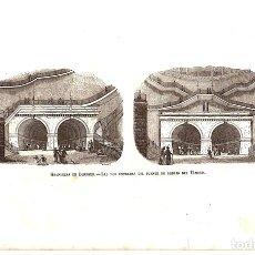 Arte: GRABADO GRANDEZAS DE LONDRES. LAS DOS ENTRADAS DEL PUENTE DE DEBAJO DEL TAMESIS. Lote 136466784