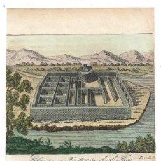 Arte: VISTA Y PLANO DEL PALACIO Y FORTALEZA INCA DE CAÑAR (ECUADOR, AMÉRICA DEL SUR), 1830. ANÓNIMO. Lote 136519730