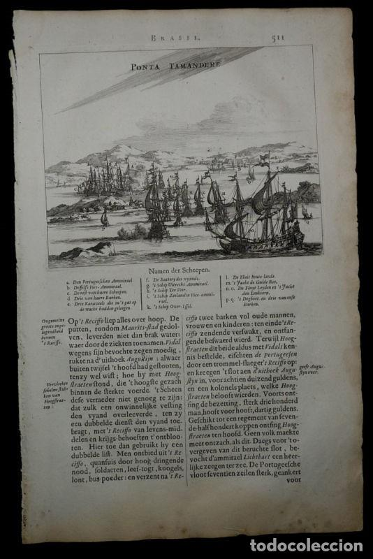 Batalla de Punta Tamandaré ( Pernambuco,Brasil), 1671. Montanus/Meurs segunda mano