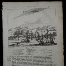 Arte: BATALLA DE PUNTA TAMANDARÉ ( PERNAMBUCO,BRASIL), 1671. MONTANUS/MEURS. Lote 136574250