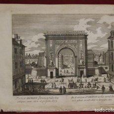 Arte: PUERTA DE SAINT DENIS EN PARÍS (FRANCIA, EUROPA), 1750. ISAAK TIRION. Lote 136577122