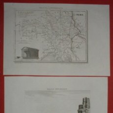 Arte: 2 GRABADOS DE UN MAPA Y VISTA PANORÁMINA DE LA CIUDAD DE NIMES (FRANCIA), 1835. ANÓNIMO. Lote 136637458