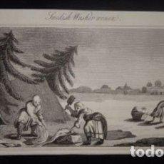 Arte: MUJERES LAVANDO EN SUECIA (EUROPA), 1790. ANÓNIMO. Lote 136640894