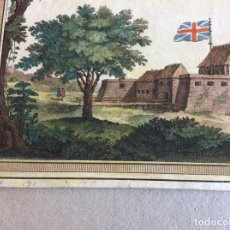 Arte: VISTA DEL FUERTE INGLÉS WILLIANS EN JUIDA (BENIN, ÁFRICA OCCIDENTAL) , 1748.BAKKER/PREVOST. Lote 136643514